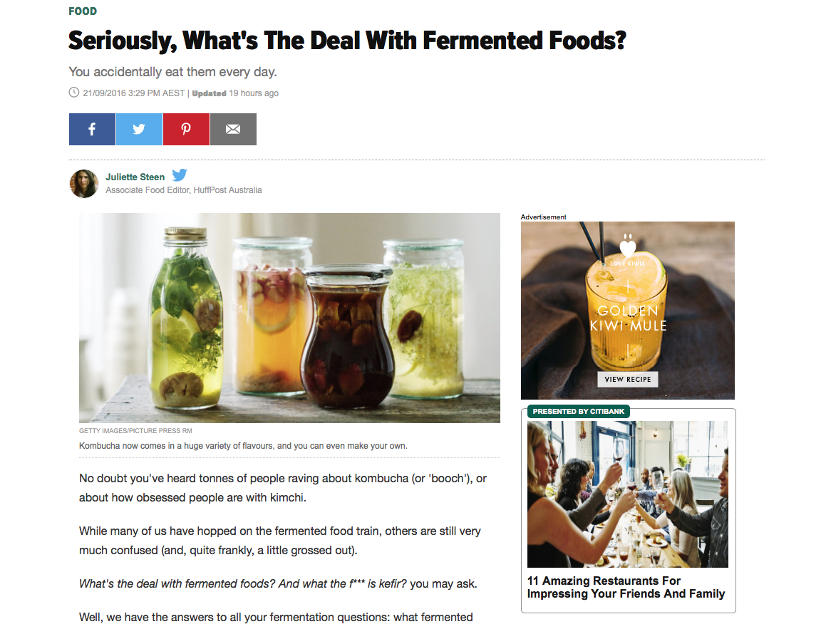The team at Ballsy chat to The Huffington Post about all things fermented !!