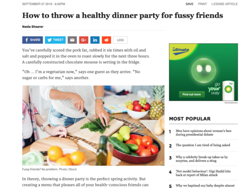 How to throw a healthy dinner party for fussy friends! SYDNEY MORNING HERALD