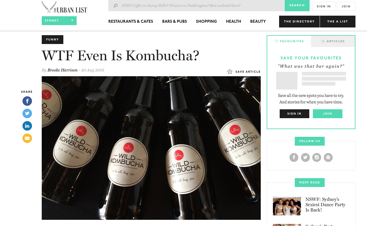 WTF Even Is Kombucha? The Urbanlist SYD